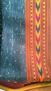 Yak wool shawl with sashiko patterned border