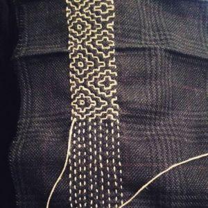 Sashiko stitching on british tweed by Manjusha